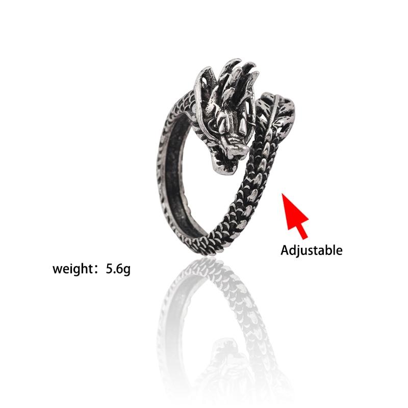1PC Fashion Unisex Men Punk Chinese Dragon Jewelry Adjustable Ring Punk Style
