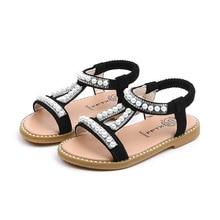 Summer Baby Girls Sandals Toddler Infant Kids Slip On Pearl Crystal Single Princess Roman Shoes For Children Girl
