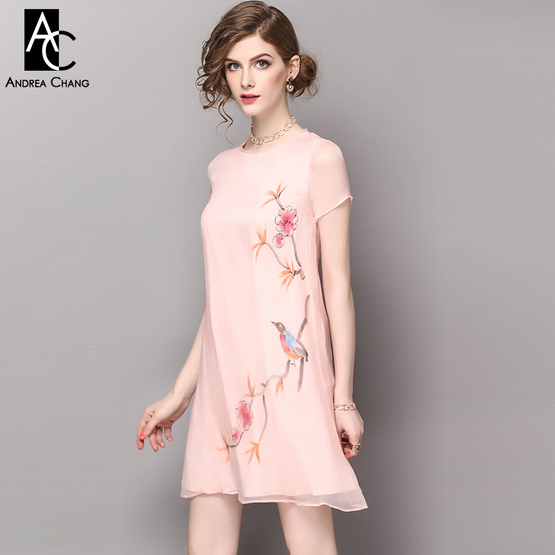 spring summer runway designer womans dresses pink silk dress pleated material flower bird print vintage casual a line mini dress