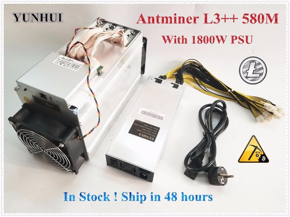 Bitmain más ANTMINER L3 + + 580 m (con psu) scrypt minero LTC máquina de minería máquina de mejor que ANTMINER L3 L3 +