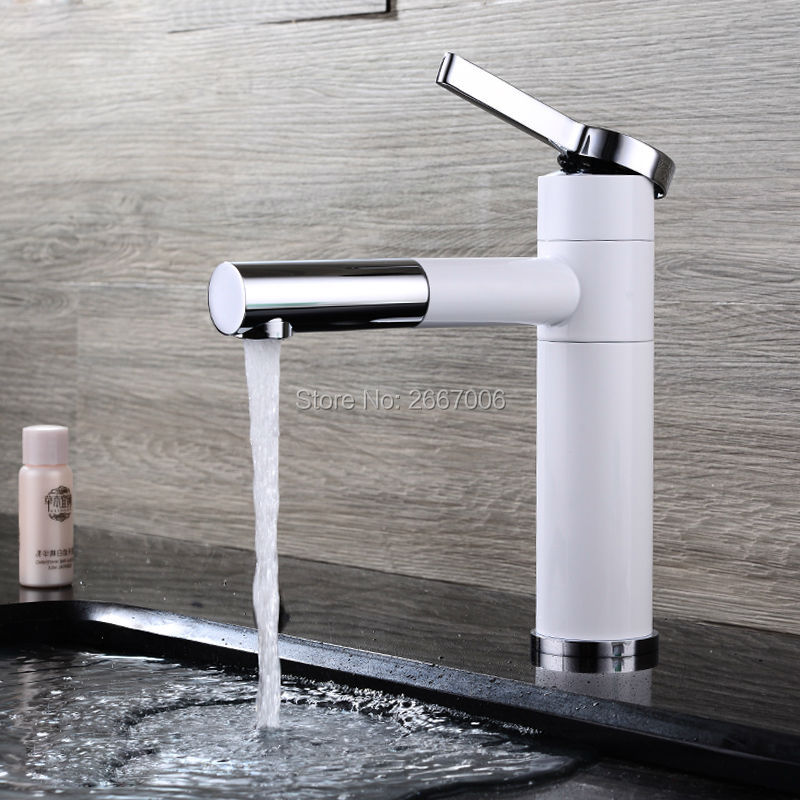 Free shipping Lavatory Grilled White Paint Basin Tap Swivel Spout Faucet 360 Degree Rotation vessel sink faucet Mixer Tap ZR632 led spout swivel spout kitchen faucet vessel sink mixer tap chrome finish solid brass free shipping hot sale