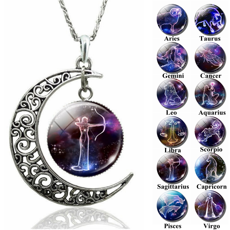 12 Constellation Necklace Zodiac Signs Cabochon Glass Crescent Moon Necklace Clavicle Chain Necklaces For Women Zodiac Jewelry
