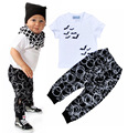 Boys sets  small children casual two-piece Bat print T-shirt circle print pants European and American style boy clothing