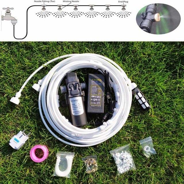 18 M Weiß Messing Düsen Wasser Nebel Spray Elektrische Membran Pumpe Kit Beschlagen System Automatische Wasser Pumpe Sprayer für Garten