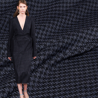 Pearlsilk Blue Black Yarn Dyed Houndstooth Cashmere Wool Garment Materials Autumn Dress DIY clothes fabrics Freeshipping