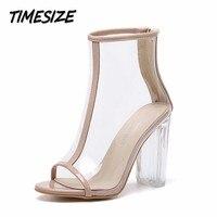 TIMESIZE new summer femmes de pompes Transparent épais talons peep toe talons hauts chaussures femme partie de mariage robe dames sandales