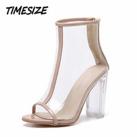 New Summer Women S Pumps Transparent Thick Heels Peep Toe High Heels Shoes Woman Party Wedding