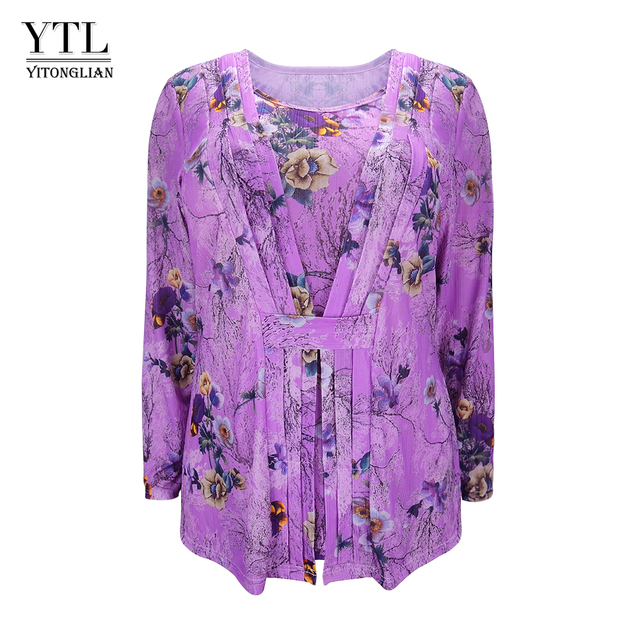5a16d9f6852 Plus Size Womens Tops Shirts Floral Print Pattern Long Sleeve Pleated  Oversized Tunic Top Loose Feminine T-shirt M-8XL H164