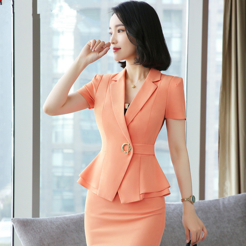 Elegant Women Blazers Summer Temperament Short Sleeve Red Black Jacket Office Blaser Mujer Ladies Plus Size 4XL Work Wear Coat