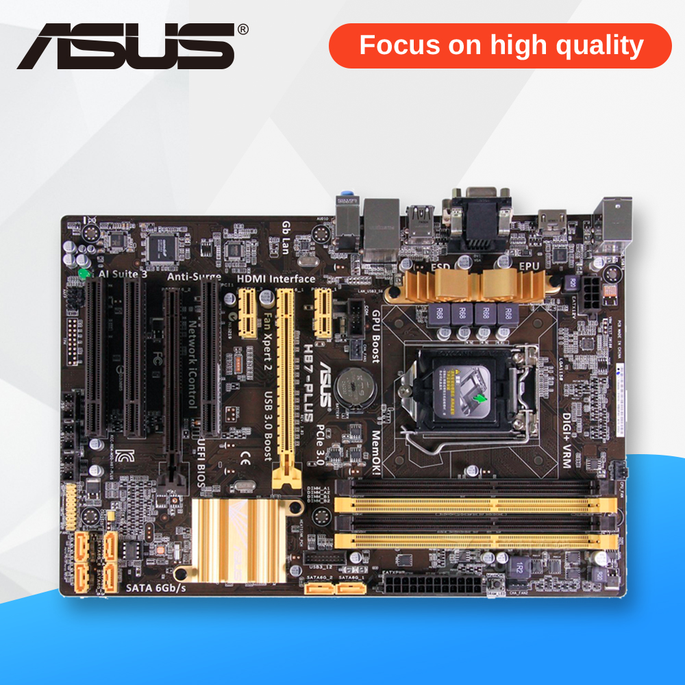 Asus H87-PLUS Desktop Motherboard H87 Socket LGA 1150 i7 i5 i3 DDR3 32G SATA3 UBS3.0 ATX asus h87 plus original used desktop motherboard h87 socket lga 1150 i7 i5 i3 ddr3 32g sata3 ubs3 0 atx