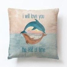 Sea Turtle Printed Cotton Linen Cushion Cover Marine Ocean Fish Home Decor Pillowcase Octopus Sofa Cushion Case