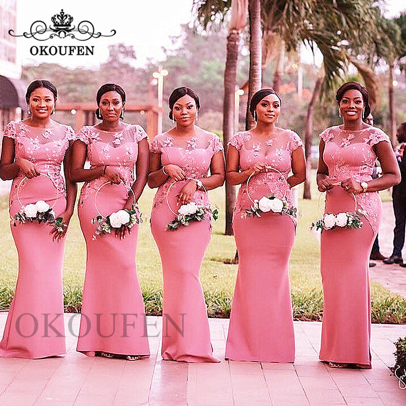 Dark Pink Mermaid   Bridesmaid     Dresses   With Capped Sleeves 2019 Sheer Neck Lace Appliques Long Maid Of Honor   Dress   Party Gown