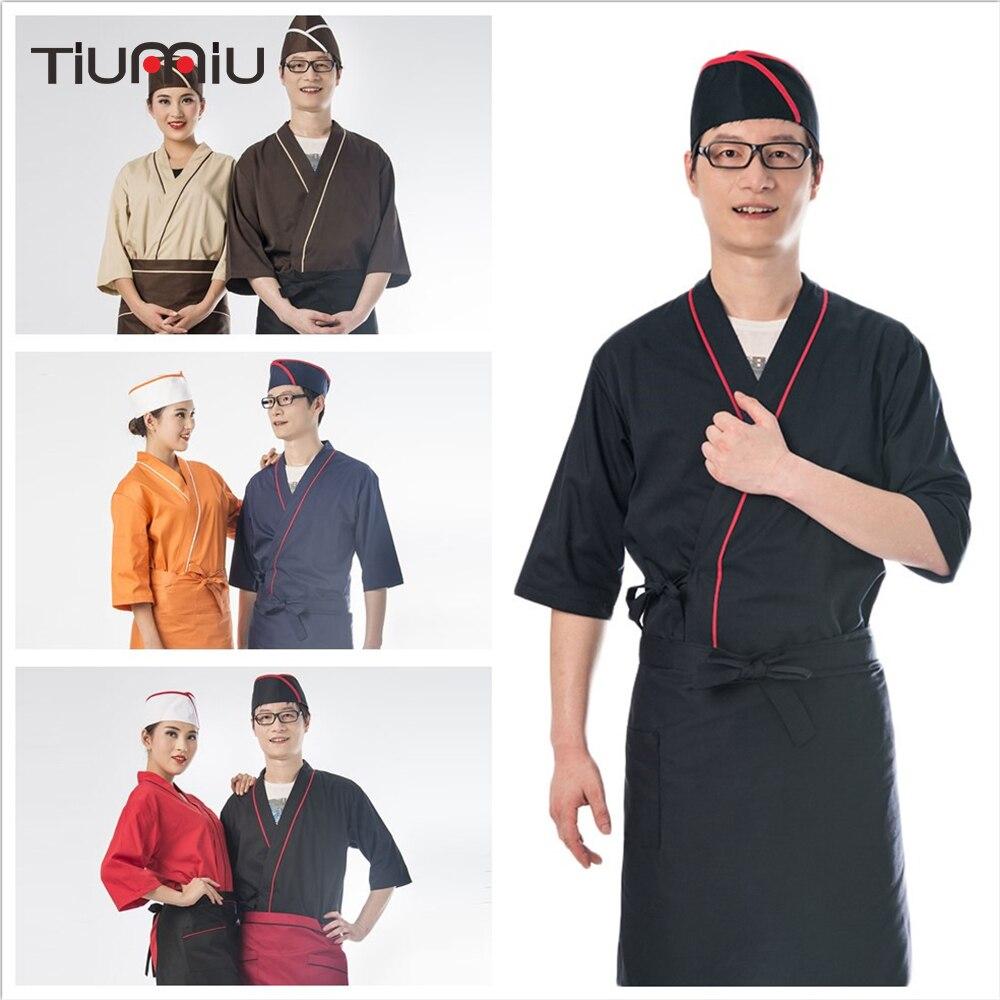 2018 Style japonais Service alimentaire Chef uniforme Sushi Kimono Cuisine vêtements Restaurant Service serveur vêtements de travail veste hommes femmes