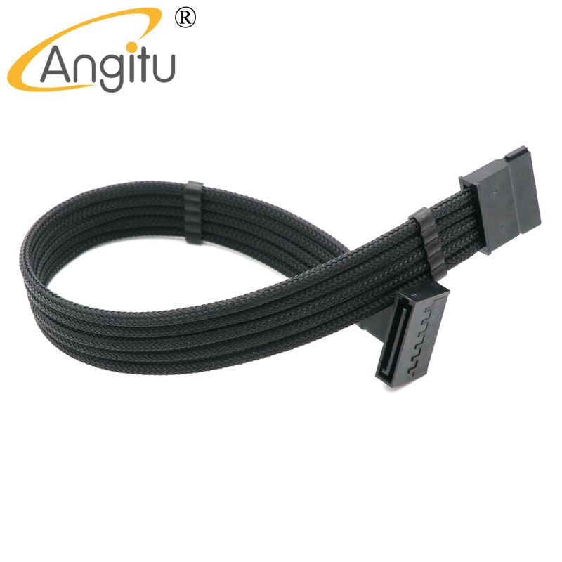 4mm PET Sleeve Single Sleeved SATA 15Pin Male to Female Power Extension Cable With 2pcs Cable Comb 10pcs 15pin sata male to 4pin fdd floppy female power cable lead pc diy