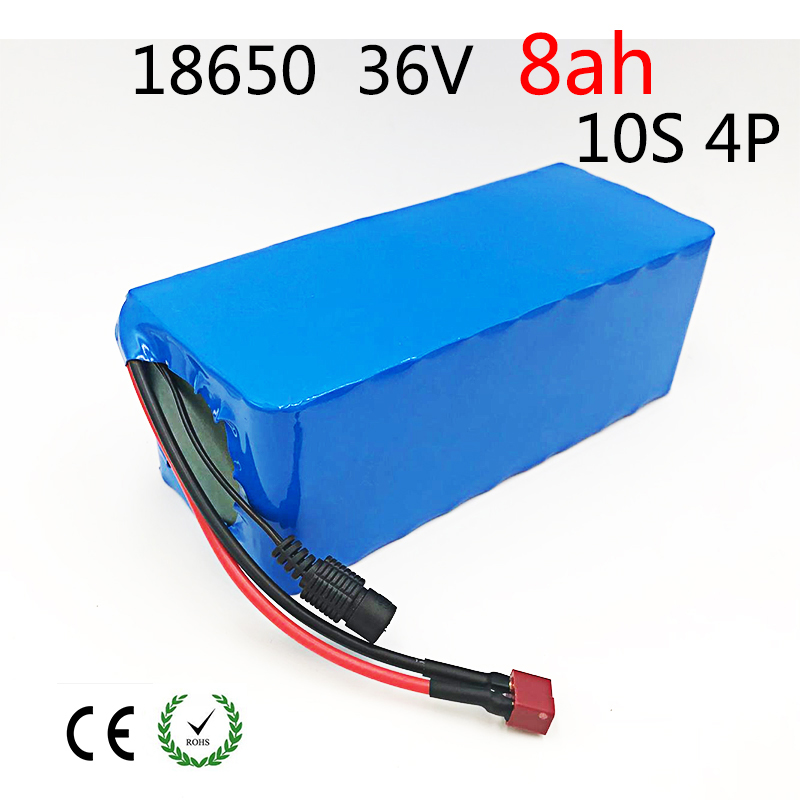 10S 4P 36V 8ah 8000mAh 500W High Power and Capacity 42V 18650 Li-Ion Battery Motorcycle Electric Car Bicycle Scooter with BMS hot sale bottom discharge electric bike 36v 8ah li ion battery 36v 8ah electric bicycle silver fish battery with charger bms