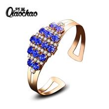 Luxury Letter blue Crystal Bangles Famous Design Rhinestone Arm Cuff Bracelets Women Bijoux Fashion Jewelry Gift