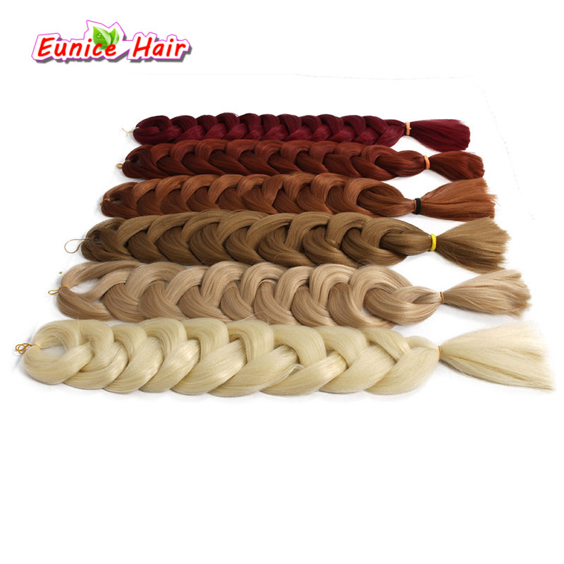 Hair Braids Able 82 165g/pack Kanekalon Pure Color Jumbo Braids Hair Extensions Synthetic Crochet Braiding Hair Bulk 3packs/lot Let Our Commodities Go To The World