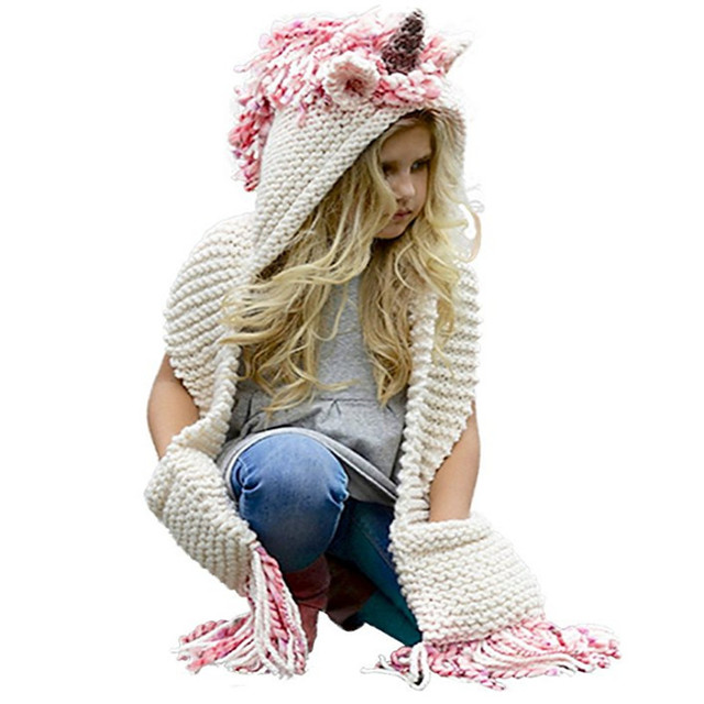 Crochet Cartoon Unicorn Winter Hat with Scarf Pocket Hooded Knitting Beanie  Cosplay Photography 4b94270165a