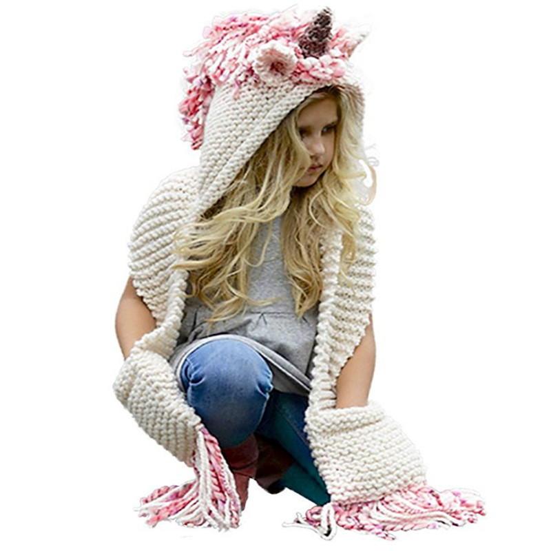 Crochet Cartoon Unicorn Winter Hat with Scarf Pocket Hooded Knitting Beanie Cosplay Photography, Long Soft Wrap Shawl For Girls
