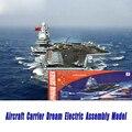 Envío libre sueño de portaaviones modelo asamblea diy simulación eléctrica regalo de los niños juguete educativo del buque de guerra acorazado
