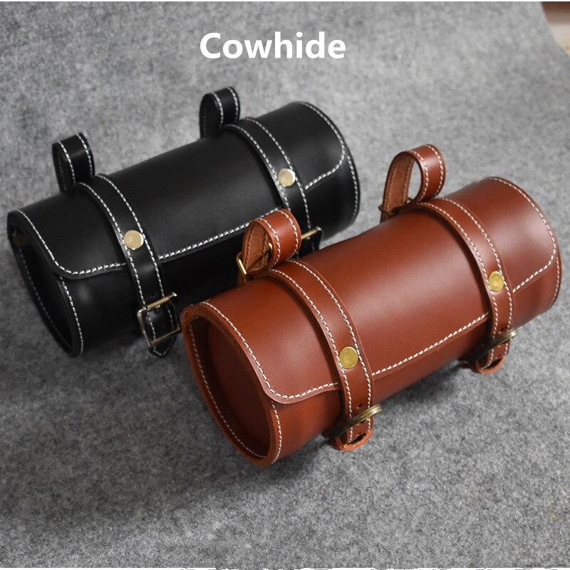 2 couleurs pliant vélo en cuir paquet résistant à la pluie vtt avant poignée sac pour brompton vélo sac en cuir de vache fait à la main rétro 21*10 cm