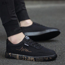 BJYL 2019 New Spring Autumn Canvas Shoes Men Fashion Low top Black Comfort Light Lace up Sneakers Casual B200