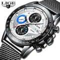 Reloj hombre 2019 LIGE Top Brand di Lusso Mens Orologi Impermeabile Ultra Sottile Data Orologio Da Polso Maschile Cronografo Casual Orologio Al Quarzo