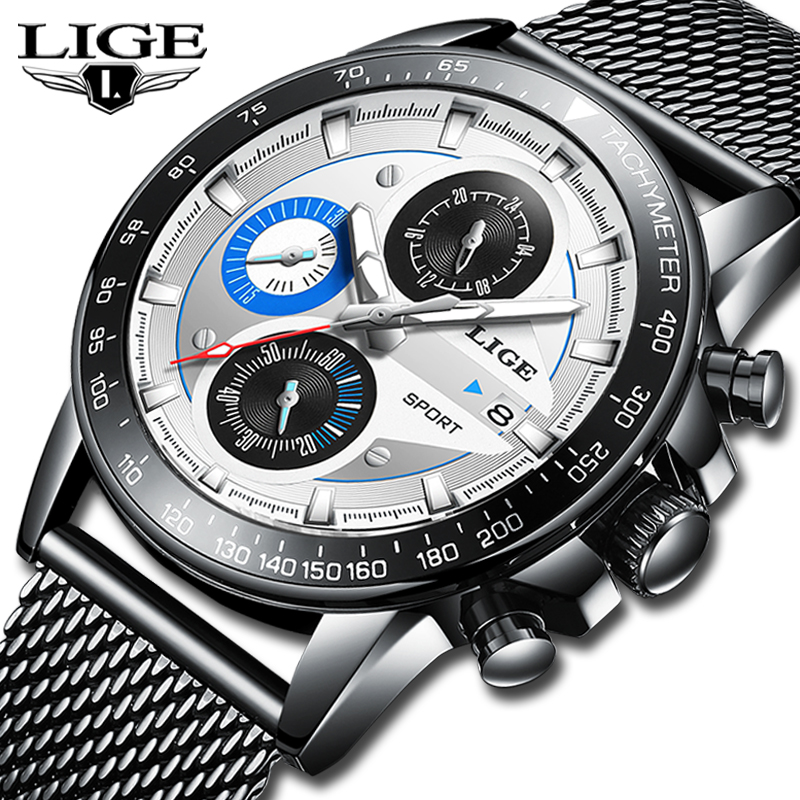 Reloj Hombre 2019 LIGE Top Brand Luxury Mens Watches Waterproof Ultra Thin Date Wrist Watch Male Chronograph Casual Quartz Clock