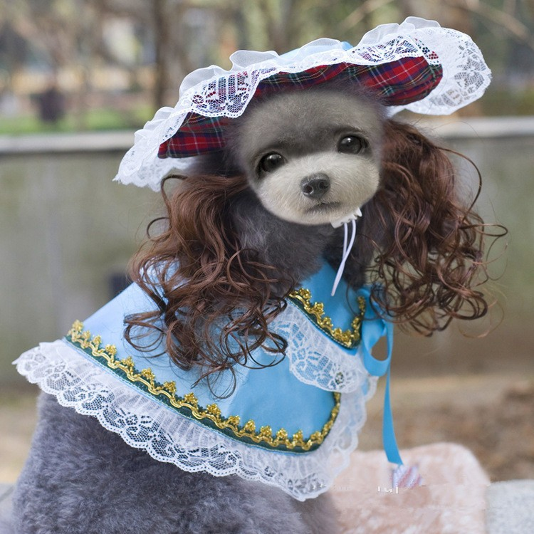 Dog Cat Hat Cape Scarf Suit Dog Royal Princess Halloween