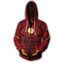 Fans Wear Sweatshirt The Flash Hoodies Justice League Zip Up Cosplay Hoodie