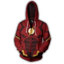Fans Wear Sweatshirt The Flash Hoodies Justice League The Flash Zip Up Cosplay Hoodie zip up hoodie