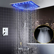 Ceiling Large Mist Water Shower Mixer Set LED Shower Faucets Head Rainfall douche / Bathroom Shower Systems golden rainfall shower faucets set brass wall mounted shower with hand shower mixer for bathroom
