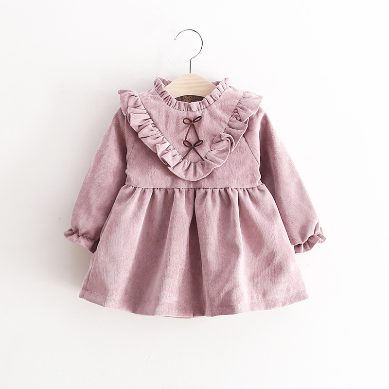 2018 New Autumn Spring baby Girls Long Sleeves Corduroy Pink Dress Fashion Bowknot Baby Princess Dress Children's Clothing Brand corduroy overall dress