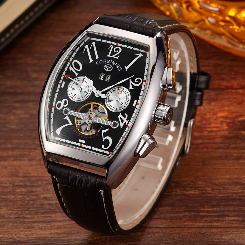 Fashion Automatic Mechanical Watch Top Brand Black Date Dial Black Leather Strap Analog Mens Wrist Watch Clock Relogio Masculino купить недорого в Москве