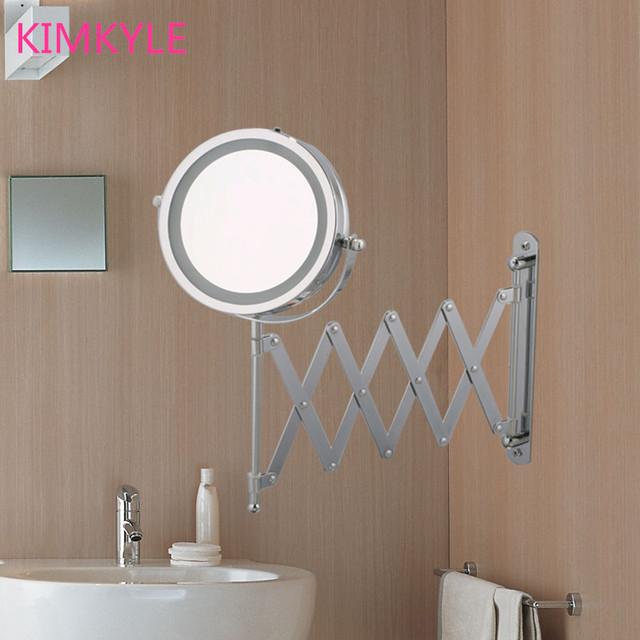 7 pulgadas de alta definición 2-Face báscula de baño espejo de maquillaje LED espejo de aumento 5X espejo de Pared 360 rotación Ahorrar espacio