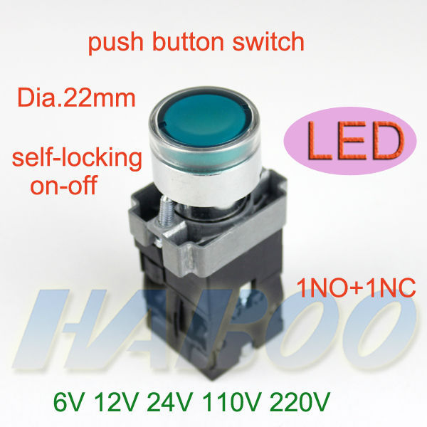 5pcs/lot HABOO 22mm series illuminated push button switch lighting switch flat head 24V 220V ...