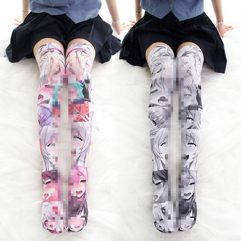 Kawaii Lolita Tights Printed Stockings With Ahegao Lolita Socks Cute Anime Coplay Thigh High Over The Knee Stocking