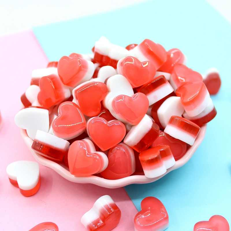 10Pcs Love heart Candy Addition Slime Filler for Slime DIY Polymer Addition Slime Accessories Toy Lizun Model Tool for Kids Toys