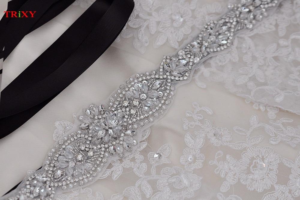 Trixy B102 Rhinestones Beaded Thin Wedding Belts Wedding Sashes Handmade Crystal Rhinestone Bridal Belts Bridal Sashes Moderate Price Weddings & Events Wedding Accessories