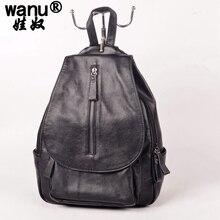 Wanu Новый 2016 Пояса из натуральной кожи Рюкзаки Для женщин Сумки Дамы бренд рюкзак элегантный дизайн Винтаж школьная сумка женская рюкзак для девочек