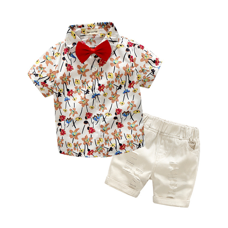 Children's Clothing Bow Tie Floral Baby Boy Summer Clothes Gentleman Party Wedding Suits For Boys Fashion Child Toddler Outfits baby boys suits clothes gentleman suit toddler boys clothing infant clothing wedding birthday cotton summer children s suits