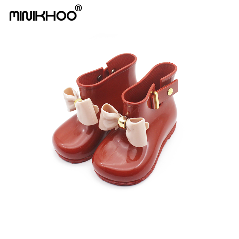 Mini Melissa Rain Boots 2018 Children Bow Boots Girls Jelly Water Boots Princess Shoes Anti-Skid Soft Boots Girls 4Color Shoes