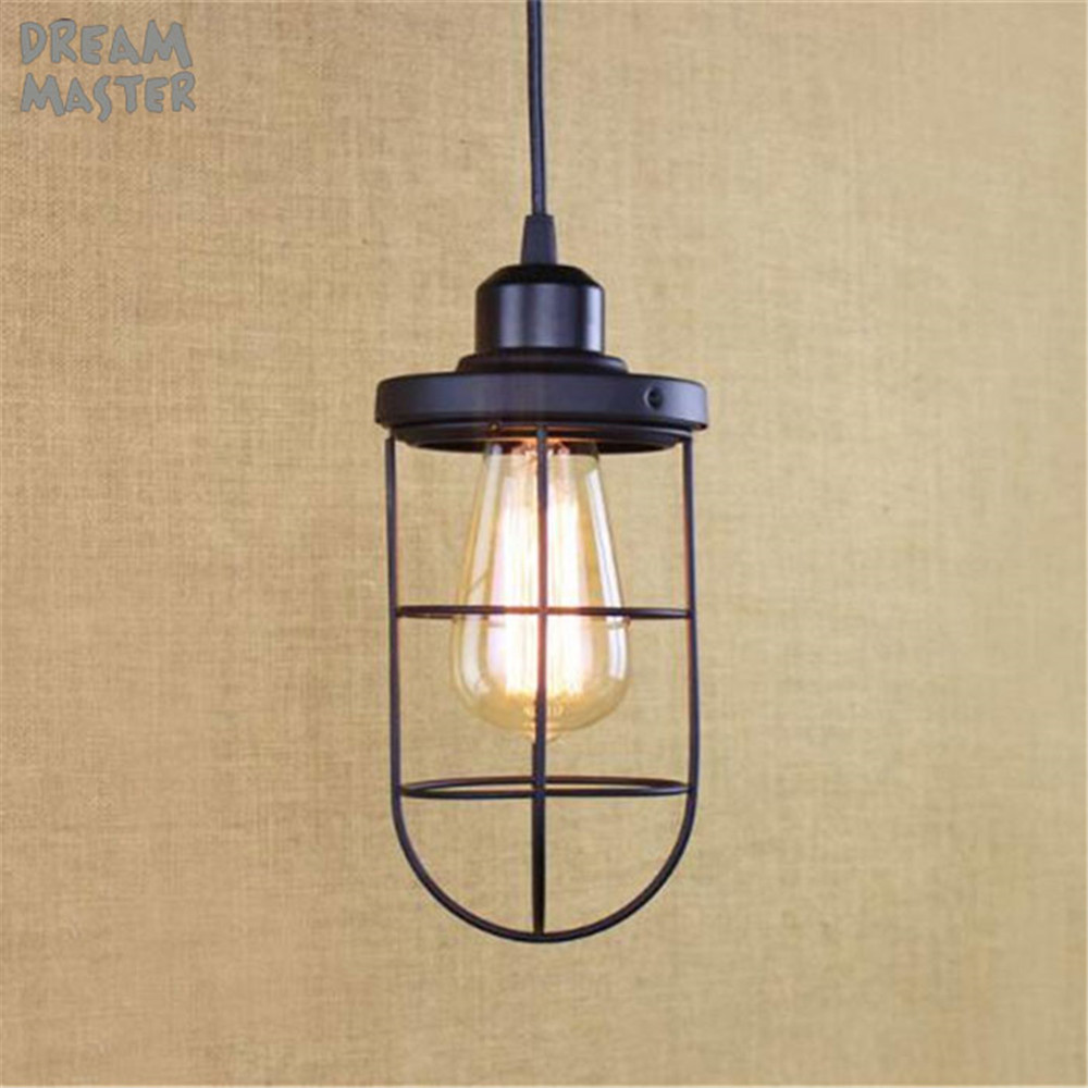 Industrial Mini Cage Pendant Light Black Edison Iron Pendant Lamp Bar/Cafe/Restaurant/shop suspension luminaire kitchen lamp vintage indusrial nordic loft edison bulb pendant light bar cafe wrought iron cage hanging lamp coffee shop club restaurant