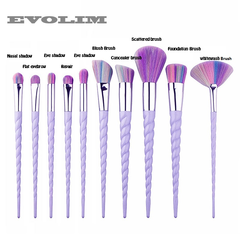 все цены на EVOLIM Pro 10Pcs Makeup kit Brushes Set brushes Unicorn Handle Shape Eyebrow Pinceis Maquiagem Makeup Brushes Tools Set