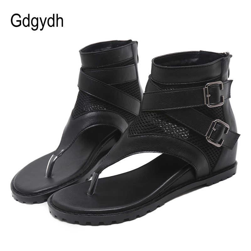 Gdgydh โปรโมชั่น 2019 รองเท้าแตะฤดูร้อนผู้หญิงซิปออกแบบ Heel รองเท้าหนังเปิดนิ้วเท้ารองเท้าแตะผู้หญิง Flip Flop