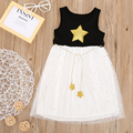 2017 New Arrival Summer Girls Star Sequin Princess Tulle Dress Toddler Kids Casual Party Lace Sundress F3