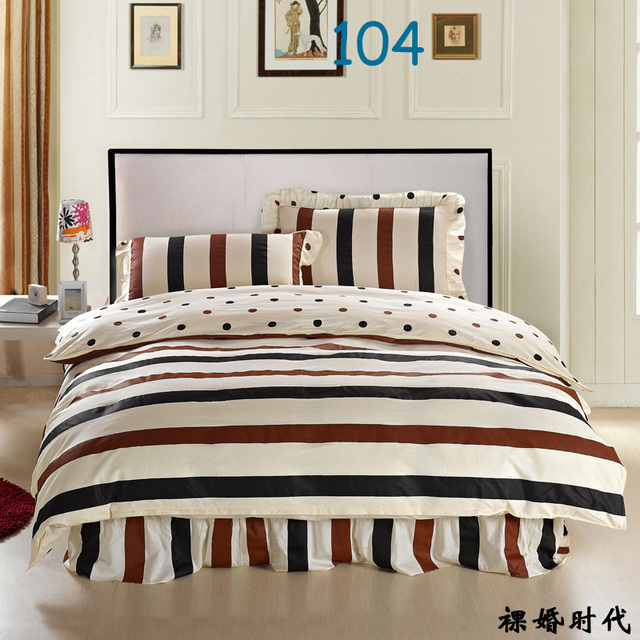 Rainbow stripes Twin Full Queen King size Cotton Bed skirt 3/4pcs ...