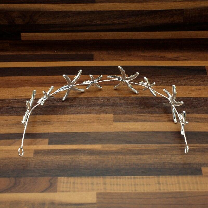 Elegant Sparkly Crystal Star Tiara Headband Silver Starfish Bride Headdress Rhinestone Hair Wedding Accessories