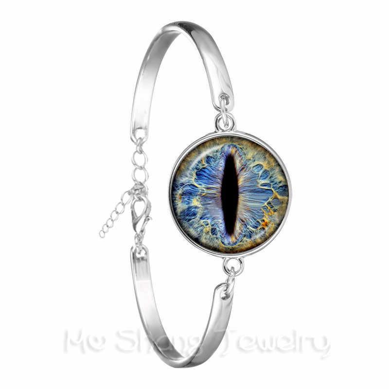 Модные цветные браслет evil Eye Красивые Животные Дракон товары для кошек глаз сердце 18 мм стекло, кабошон, серебро покрытием браслет для женщин