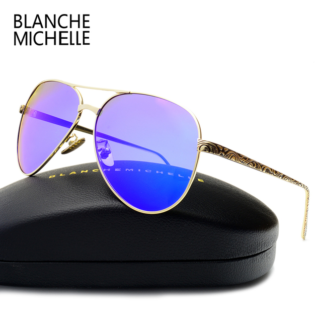 2017 High Quality Pilot Sunglasses Women Polarized UV400 Sunglass Mirror Sun Glasses Brand Designer Pink Lens With Original Box